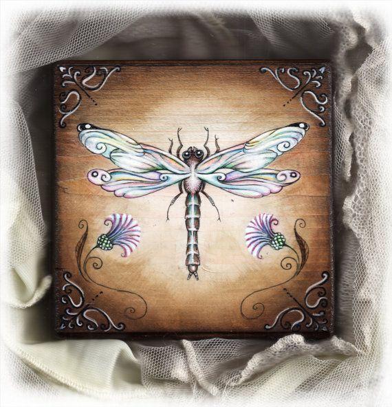 "4.5x4.5"" - Handpainted art block on wood - ,"" dragonfly ."" - ORIGINAL Painting via Etsy"
