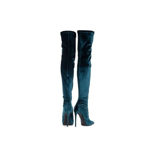 Stretch Over The Knee Boot Le Silla In Velvet, Green Velvet H.120 Mm. (24,640 HNL) ❤ liked on Polyvore featuring shoes, boots, stretch thigh high boots, stretch over the knee boots, over the knee boots, gothic boots and stretchy boots