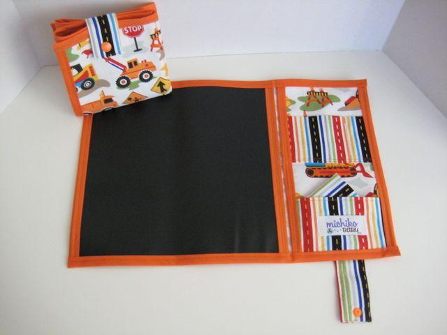 Fabric chalk board, foldaway