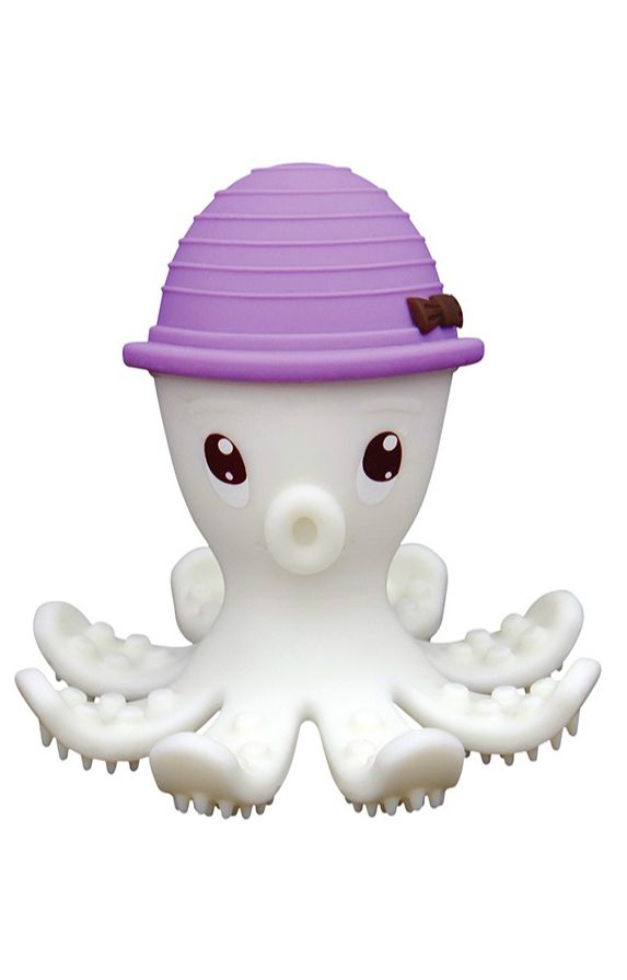 You can be sure to rely on this adorable mombella Octopus Teether Toy as it was invented by a dental hygienist mom for a fun and safe use. This teether toy is the perfect teething aid made of soft silicone that neutralizes pain and stimulates the baby's gums. A hollow body and non-choking design with toothbrush feet make this teething toy both functional and cute.
