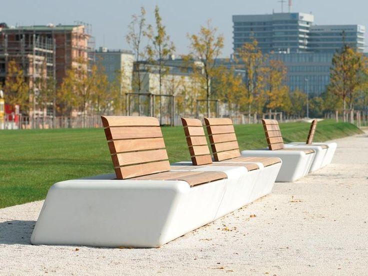 ARPA - TLF, Panchina modulare da esterno, in cemento di fibra di vetro, seduta in legno e schienale su richiesta