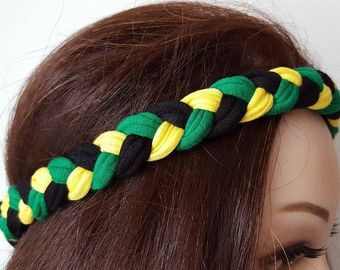 Jamaica Flag Headband Cheer Band Jamaican National Mark Accessories Hippie Headband  Girls Mens Rasta Hair Band Hair Accessories
