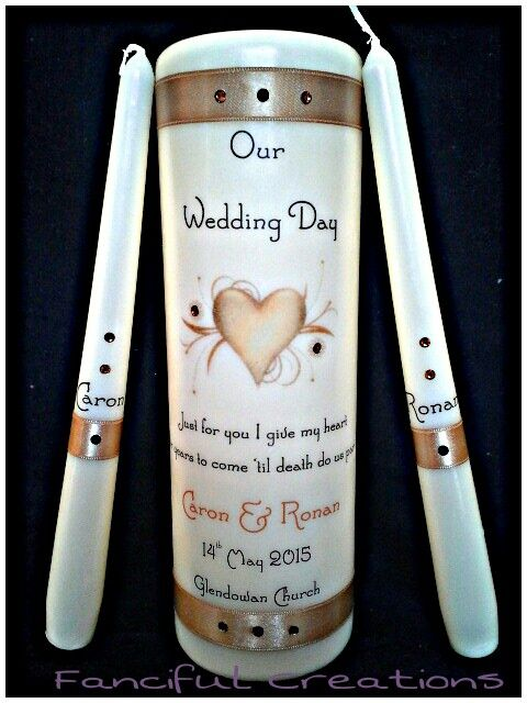 Gold themed Wedding Unity Candle Set. Fully Personalised to your liking @ Fanciful Creations https://m.facebook.com/personalised.candles.for.all.occasions