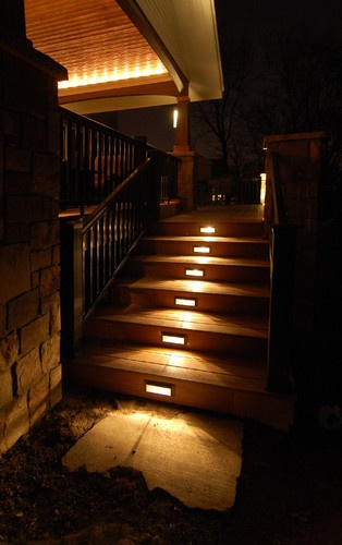 Love the built-in lighting on this deck and covered porch