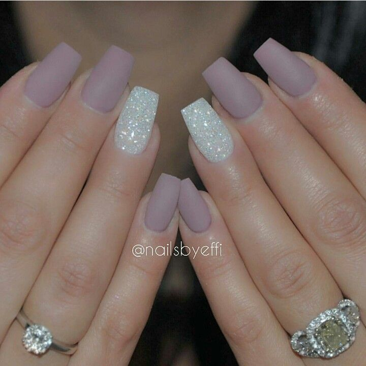 Matted purple with white Diamond polish