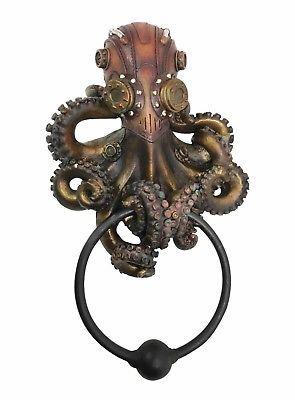 Steampunk Octopus Kraken Tentacle Warrior Decorative Resin Door Knocker Figurine
