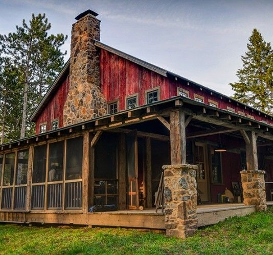 25 best ideas about cabin porches on pinterest rustic for Log pole barn