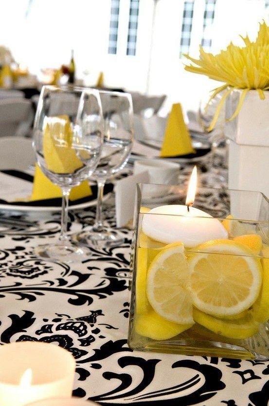 yellow black and white wedding