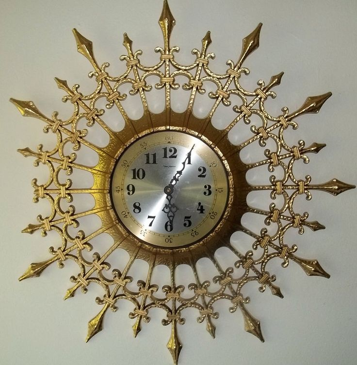 hollywood regency sunburst wall clock burwood vintage wall decor mid century