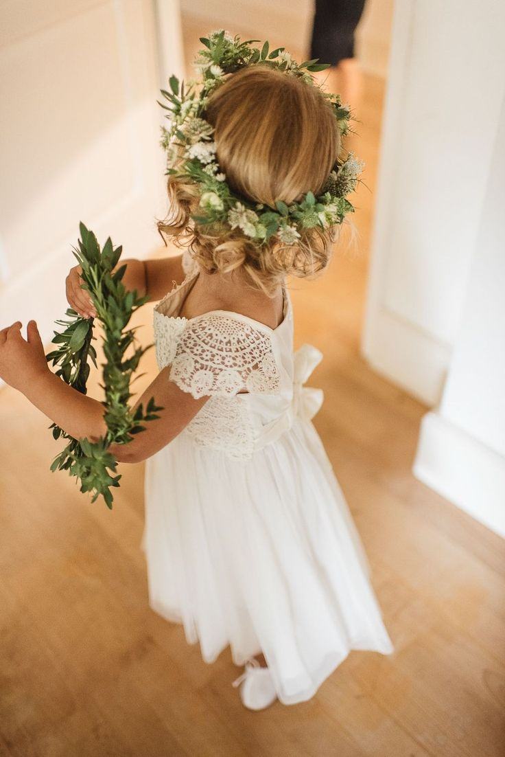 Angelic floral headband mixed with a classic white lace dress to make the perfect wedding attire!