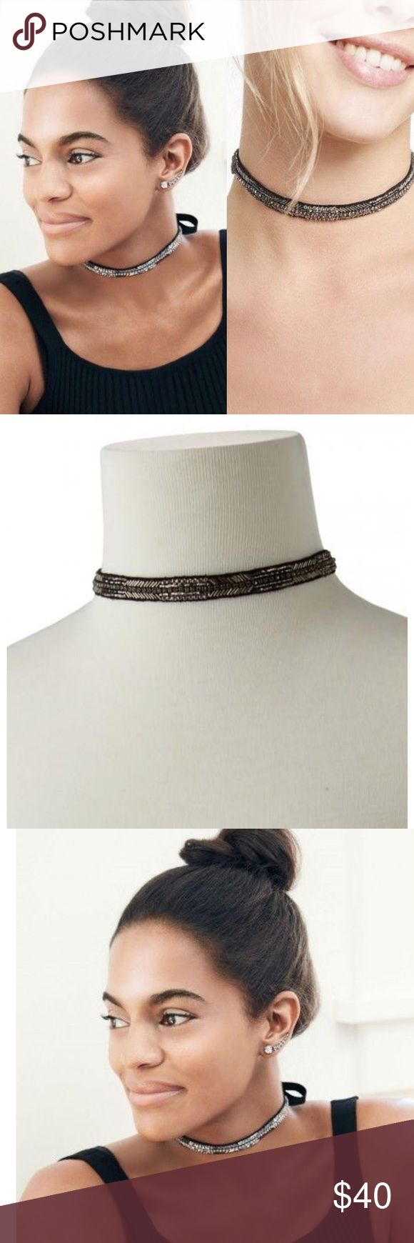 Brand new with box Stella and dot Choker This necklace is stunning with it's unique design and hand sewn beaded embroidery. It's Very versatile. I just bought this and It was recently sold out on stella and dot. Dress this up or down. Ribbon tie closure. Beautiful Stella & Dot Jewelry Necklaces