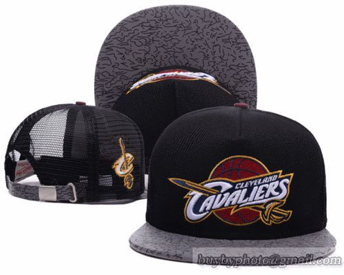 NBA Cleveland Cavaliers Black Strapback Hats Mesh Caps Brim Reflected Light Hats