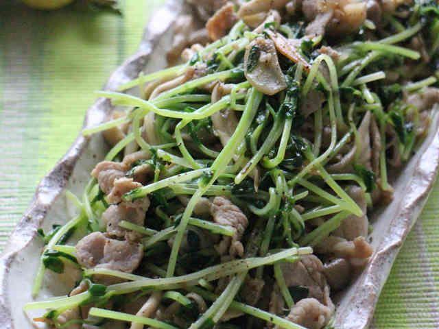 即席10分♪豆苗&豚肉&きのこ中華炒めの画像