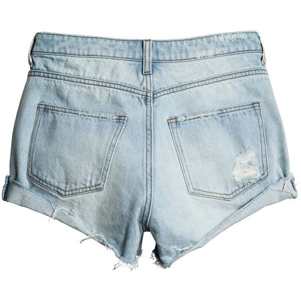 Farkkushortsit Trashed 19,99 (175 SEK) ❤ liked on Polyvore featuring ripped jean shorts, distressed denim shorts, blue denim shorts, jean shorts and cuffed jean shorts