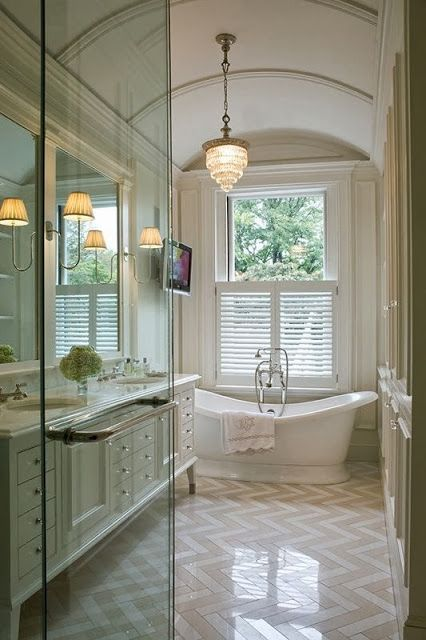 Fabulous details - herringbone floor, barrel vault ceiling, furniture styled cabinetry....... South Shore Decorating Blog: Tuesday Eye Candy #1