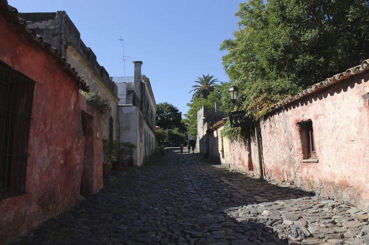 Cobblestone street in the historic center of Colonia, Uruguay