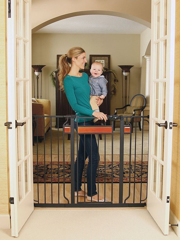 Extra Tall Walk Thru Gate Regalo Baby Child Pet Safety Fence Hardwood  Steel  #Regalo