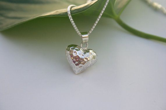 A simple heart can say so much! Perfect for Valentine's Day!  Sterling Silver Heart Necklace by 2BeadingHeartsJewels on Etsy