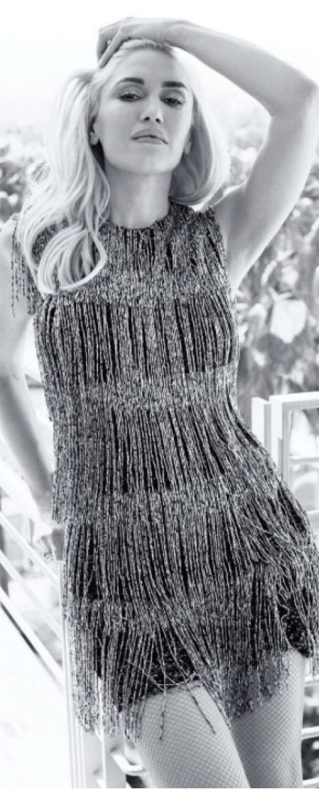 Who made Gwen Stefani's silver beaded fringe dres?s Burberry