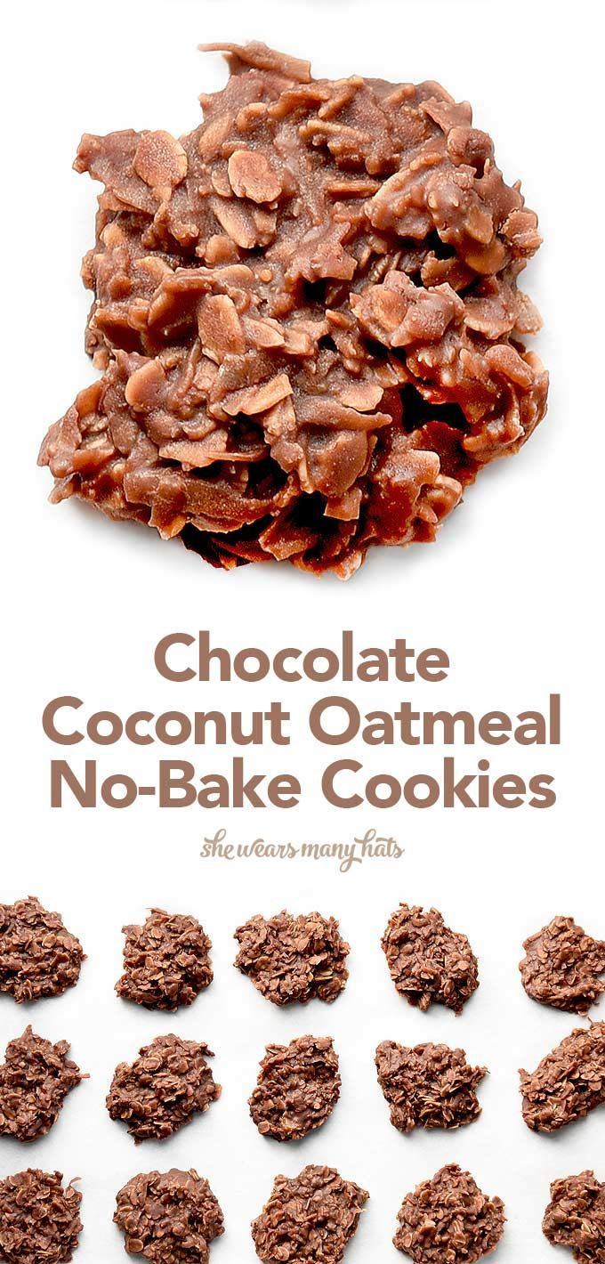 These easy Chocolate Coconut Oatmeal No Bake Cookies remind me of a Mounds bar in cookies form with some healthy oatmeal added in for good measure and a bit more texture too! shewearsmanyhats.com #cookies #chocolate #oatmeal