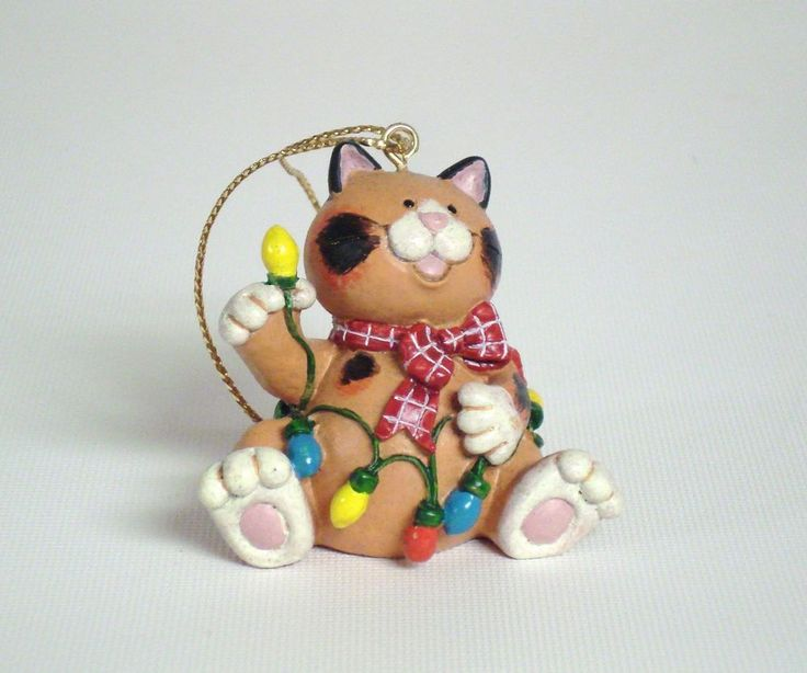 "RUSS ""Wags To Whiskers"" Hand Painted Cat Ornament"