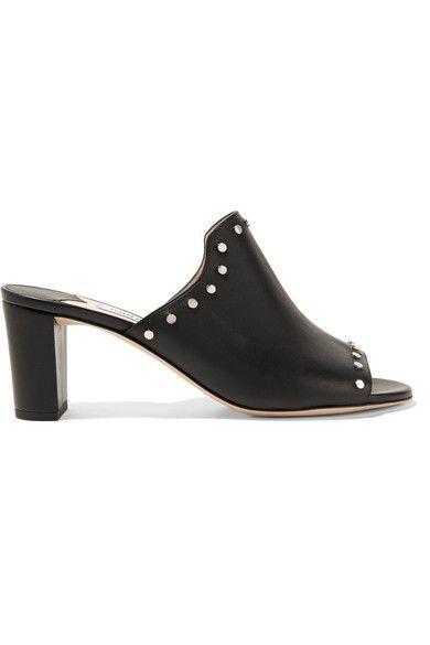 Jimmy Choo - Myla Studded Leather Mules - Black - IT35.5