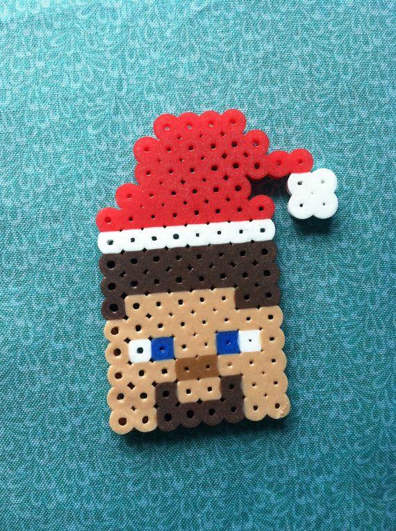 Perler Bead Minecraft Christmas Steve by GeektasticCrafts on Etsy