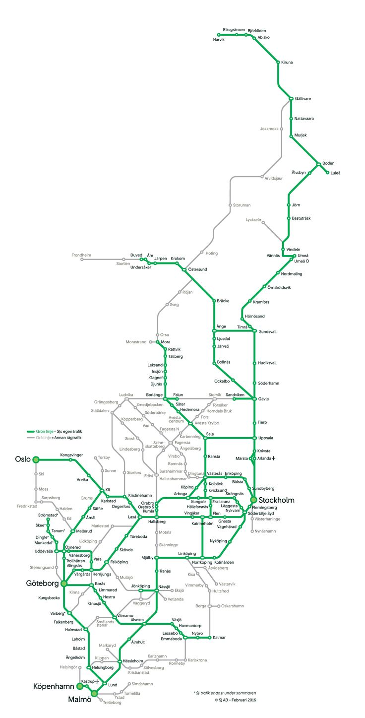 Pin canadian national railroad map on pinterest - Swedens Train Map