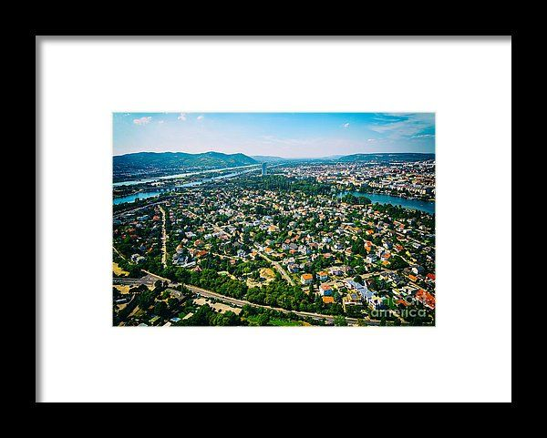 Aerial View Of Suburbs Roofs In Vienna, Austria. Framed Print