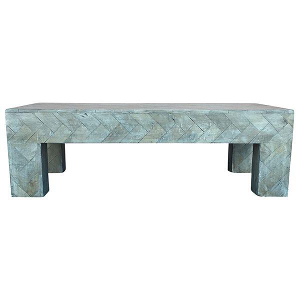 Cassie Chevron Coffee Table || French grey chevron coffee table. Dimensions: 51 x 31 1/2 x 16