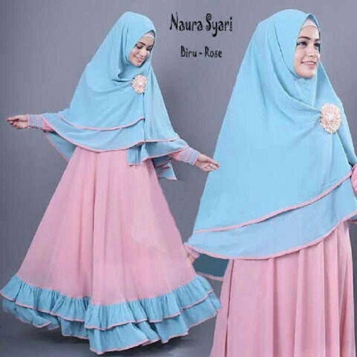 Gamis Syar'i Modern NAURA BIRU-DUSTY - http://warongmuslim.com/gamis-syari-modern-naura-biru-dusty/