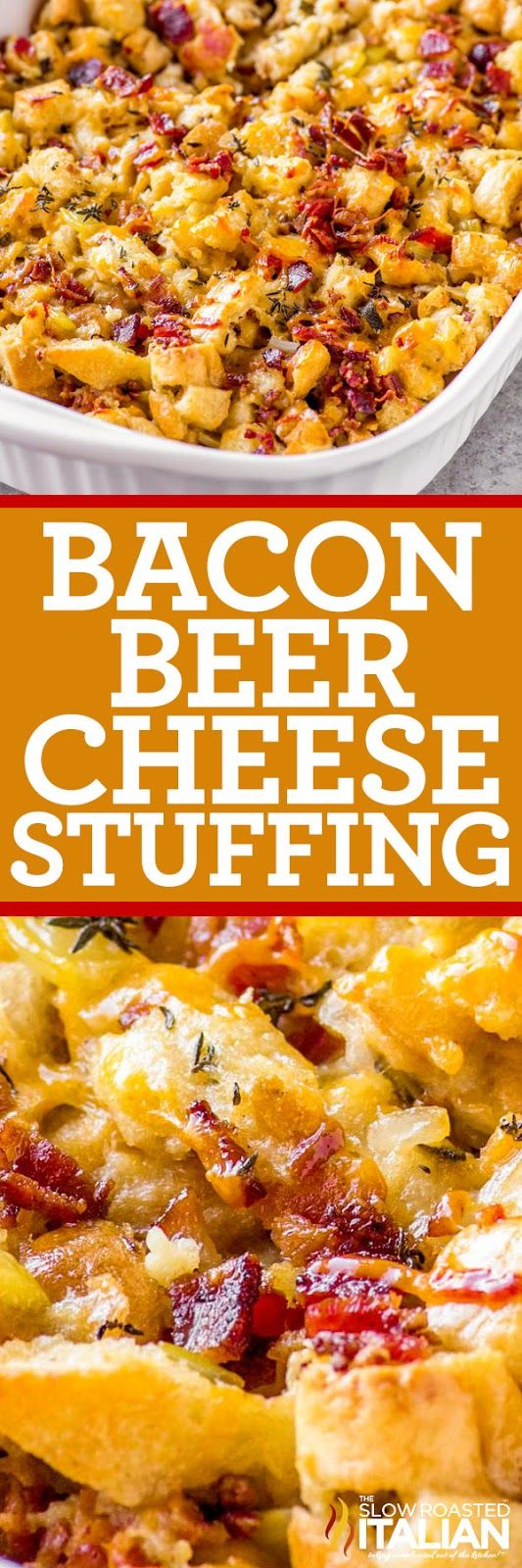 This bacon beer cheese stuffing will kick your side dish game to the next level! Classic stuffing spiked with citrus beer, savory bacon, and cheddar cheese.