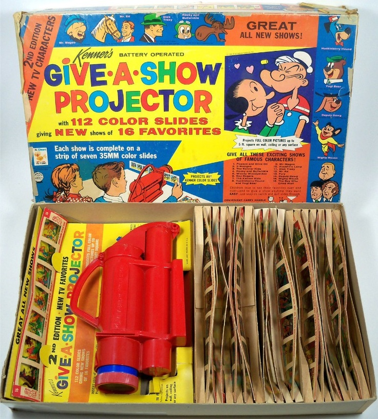 KENNER: 1962 Give-A-Show Projector I had one of these and I'd watch cartoons on my bedroom wall when I should have been sleeping!
