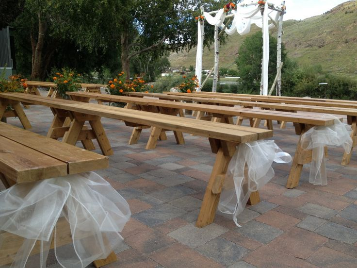 Amazing Rent Benches For Wedding Part - 5: Rent Benches For Wedding   The Lace Coming Out Of The Bottom Side Is A Cute