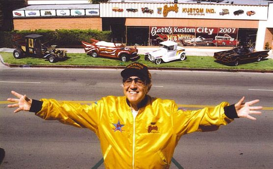 George Barris in front of his custom car shop, North Hollywood