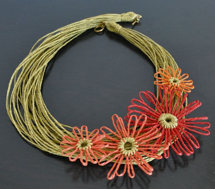 Summer - Heat - Handmade Loom Flower Multistrand Choker by jennysunny on Etsy