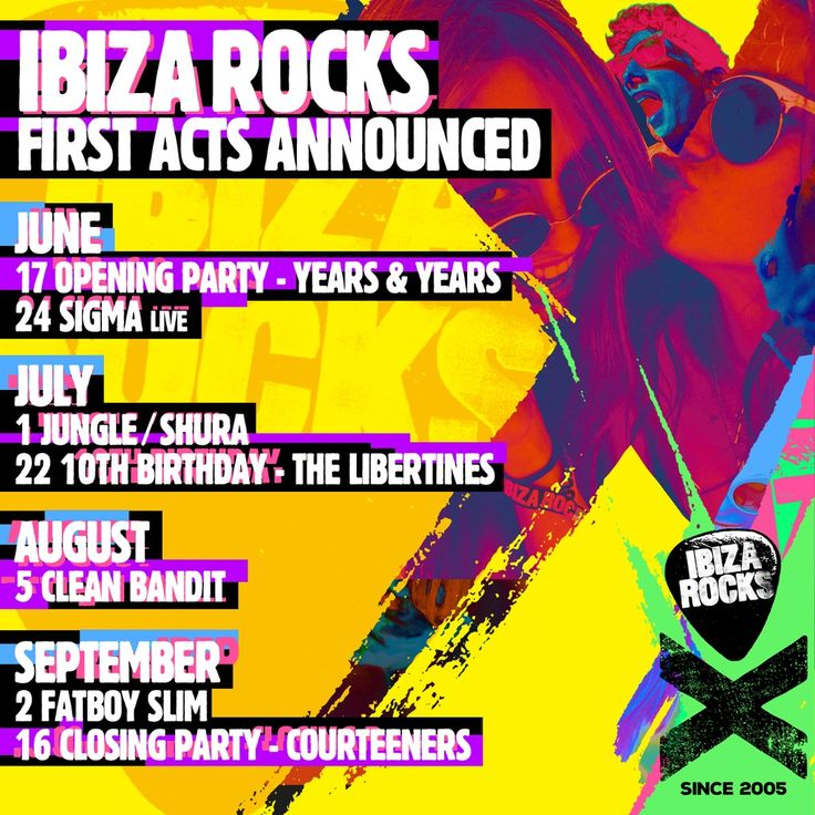 First acts confirmed for @ibizarocks with Years and Years, Jungle, The Libertines, Clean Bandit or Fatboy Slim #ibiza2015
