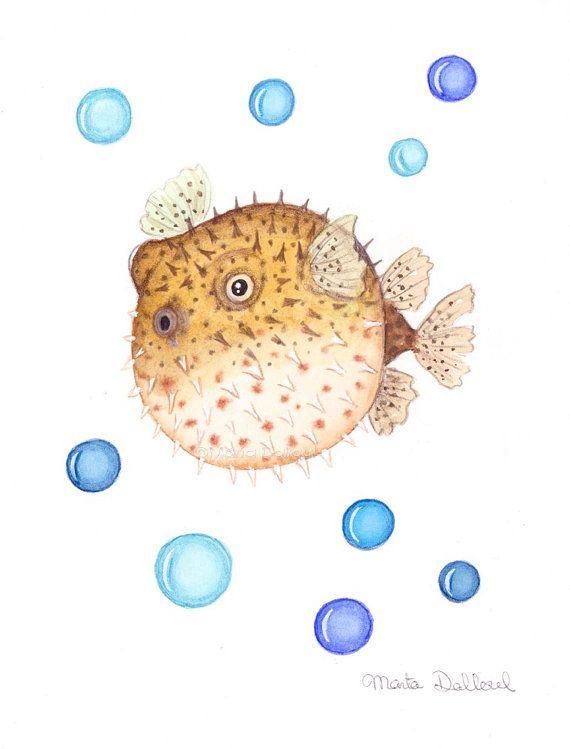 Impresión de arte de Blowfish. En la decoración del arte del vivero Mar océano. Pintura de pez globo. Pintura acuarela de pescado. Niños niños habitación pared decoración arte