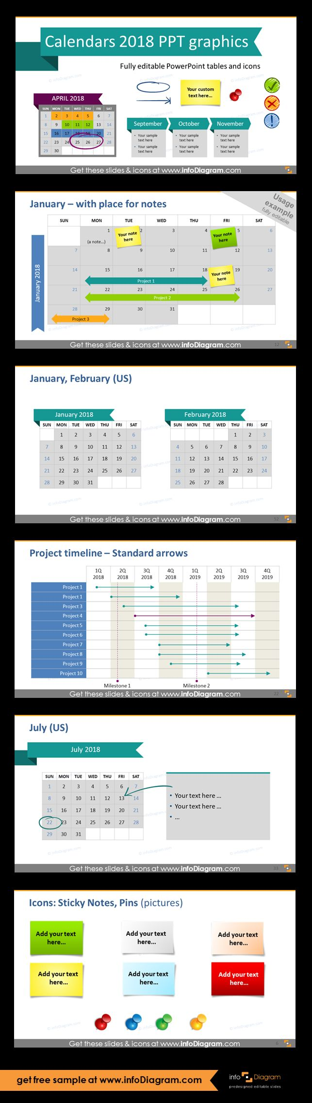 Predesigned 2018 Calendars and Timelines graphics editable in PowerPoint. Fully editable style, size and colors. Monthly calendars with weekdays with example of putting notes and projects, two months calendar format, project timeline table for marking start, end, duration of the tasks and projects Gantt charts, monthly calendar with place for description, sticky notes and pins icons set.