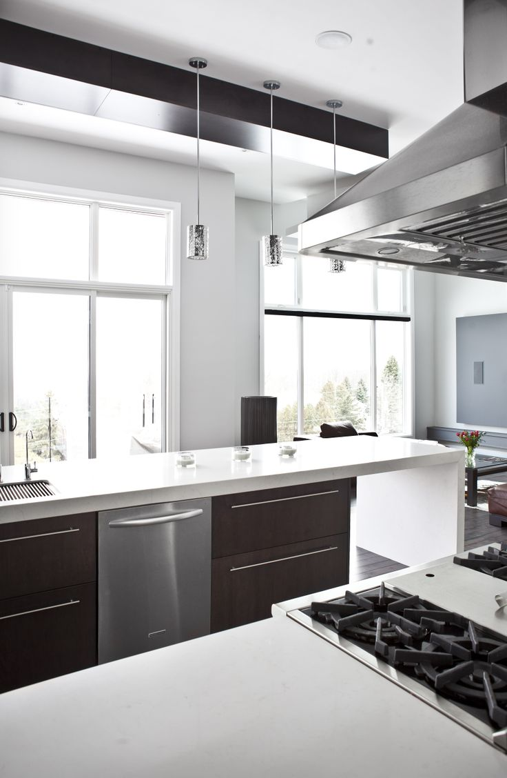 Mouser usa kitchens and baths manufacturer - Inspiration For A Modern Kitchen In Burlington With Flat Panel Cabinets Stainless Steel Appliances And An Island Modern Kitchen In Burlington