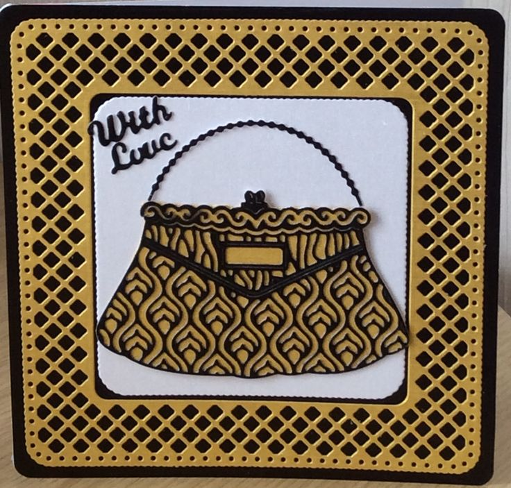 Gold and black card made using the Tonic Trellis die and the free handbag die in the Tattered Lace magazine