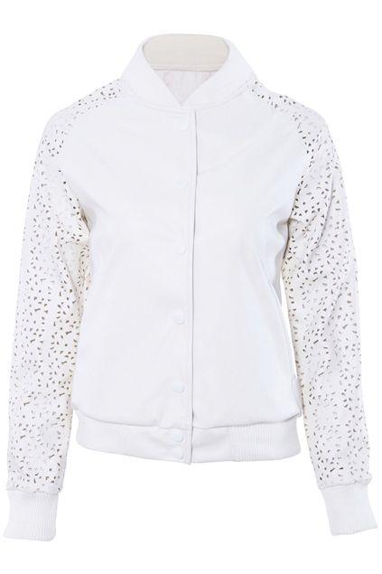 ROMWE | Fake Leather White Hollow Coat, The Latest Street Fashion #ROMWEROCOCO