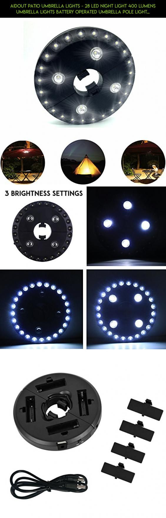 AIDOUT Patio Umbrella Lights   28 LED Night Light 400 Lumens Umbrella  Lights Battery Operated Umbrella Pole Light Outdoor Lighting   3 Lighting  Mode For ...