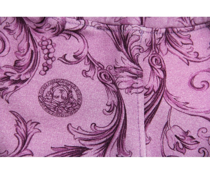 Young Versace Baby Girls Purple Rococo Print Jersey Bottoms With Chiffon Applique