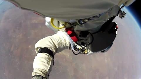 Red Bull Stratos mission (Space Diving from 128,100 ft). Watch this point of view where Felix stands at the edge of his capsule and jumps.