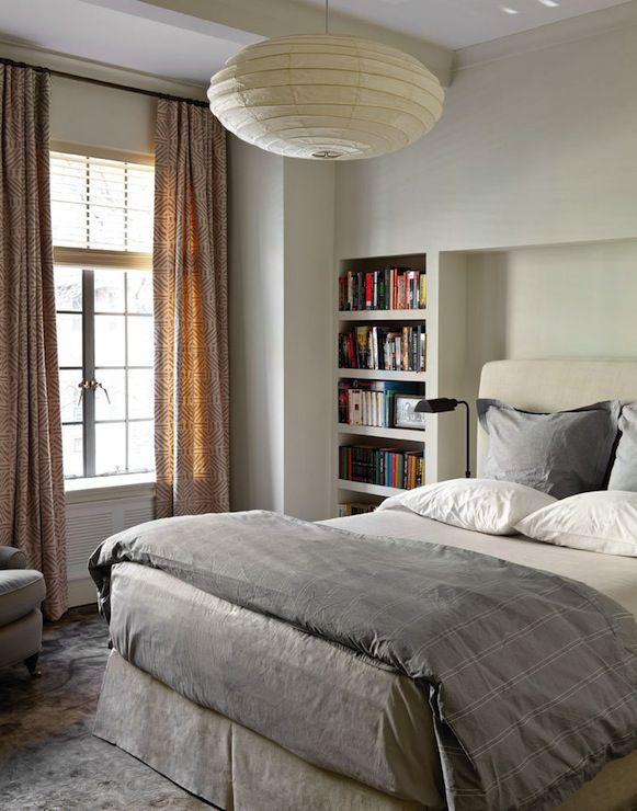 contemporary bedroom design with built in bookshelf