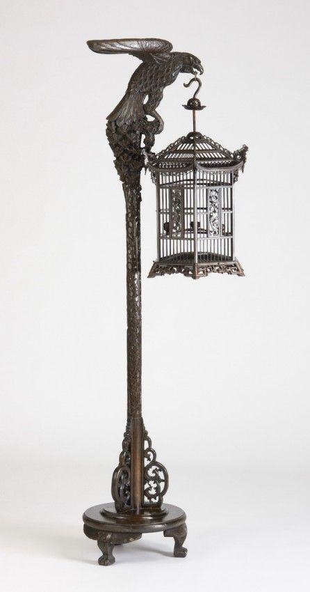"""Carved eagle with birdcage, 78""""h"""