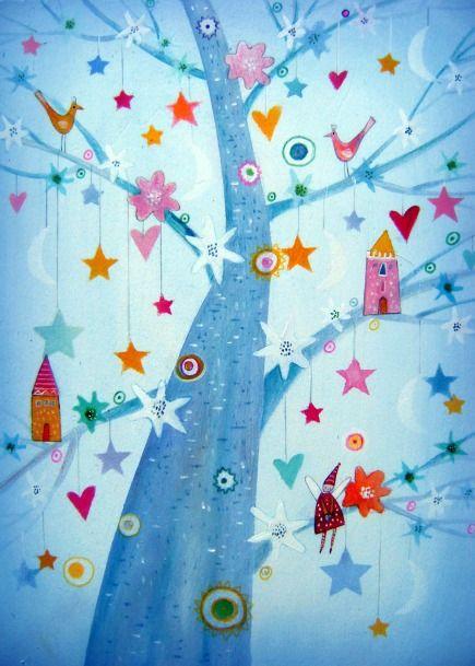 L'albero di Vera by Tiziana Rinaldi #art #painting #tree #wimsical #fairy #hearts #blue #dreaming