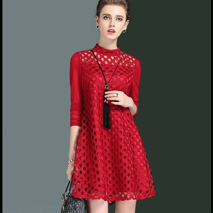 Sukienki Damskie Eleganckie Spring 2017 High Quality Dresses Above Knee Mini Lace Dress Women Summer Plus Size Red Black Dress