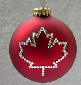 6 Canadian Christmas Decoration Ideas I would paint the red maple leaf on a blue ornament to go with our color scheme.